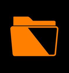 folder sign orange icon on black vector image