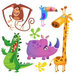funny cartoon african savanna animals set vector image