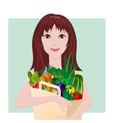 girl vegetables vector image