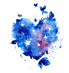 Watercolor hand drawn star butterflies vector image vector image