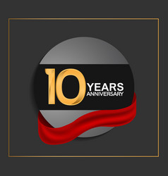 10 years anniversary logotype with golden color vector