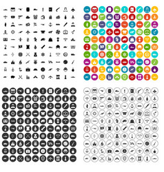 100 combat vehicles icons set variant vector