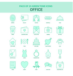 25 green office icon set vector