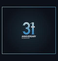 31 years anniversary logotype with cross hatch vector
