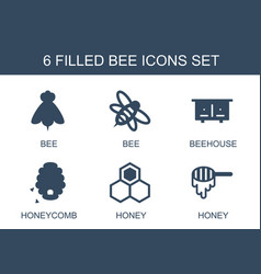 6 bee icons vector