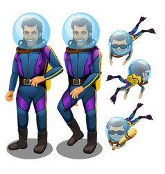 A set of young man scuba diver isolated on white vector