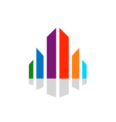 Abstract cityscape colorful diversity symbol vector
