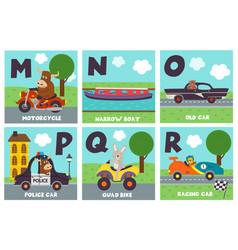 Alphabet card with transport and animals m to r vector