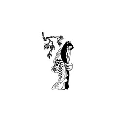 asian woman and bamboo branch icon black on white vector image