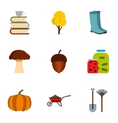 Autumn coming icons set flat style vector