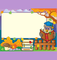 Autumn frame with owl teacher 4 vector