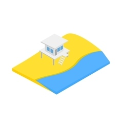 Beach with lifeguard tower icon vector