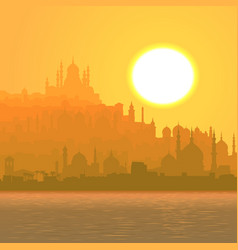 big arab city by sea at sunset vector image