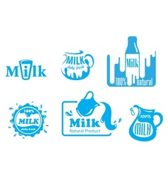 Blue and white Milk labels vector