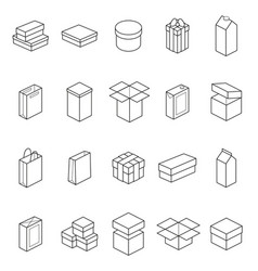 boxes thin line icon set vector image