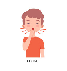 Boy suffering from cough symptom viral vector
