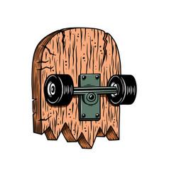 broken skateboard design element for logo label vector image