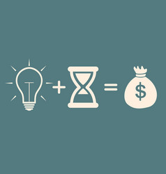 bulb time money concept profit vector image