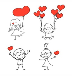 cartoon hand-drawn set of happy kid and love vector image