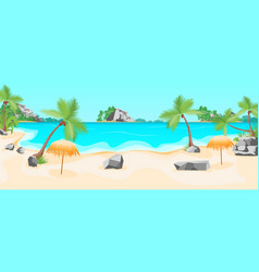 Cartoon tropical beach summer landscape background vector