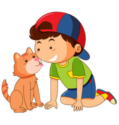 Cat licking boy face on white background vector