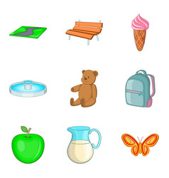 Child paddock icons set cartoon style vector