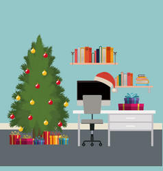 Christmas scene office desk with tree and gifts vector