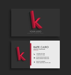 Clean dark business card with letter K vector