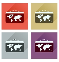 Concept of flat icons with long shadow World map vector