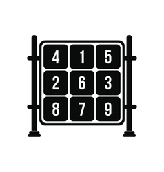 Cubes with numbers on a playground icon vector