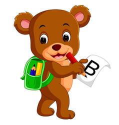 cute bear with backpack vector image