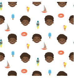cute boy cartoon style seamless pattern vector image
