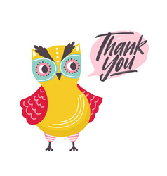 Cute owl saying thank you word funny owlet and vector