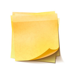 different yellow sticky notes in pile on white vector image
