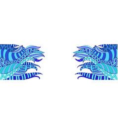 doodle fantasy wavy frame colorful blue shades vector image