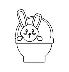 Easter bunny in basket present thin line vector