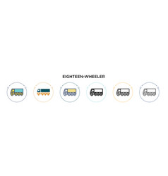 Eighteen-wheeler icon in filled thin line outline vector
