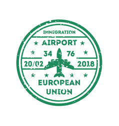 European union visa stamp on passport vector
