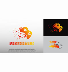 Fast game logo with gamepad concept technology vector
