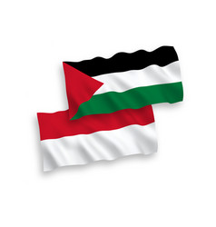 Flags indonesia and palestine on a white vector