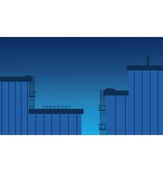 Flat design building landscape at night vector