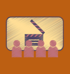 Flat icon in shading style people in cinema vector
