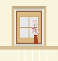Flowers In Vase On The Windowsill vector