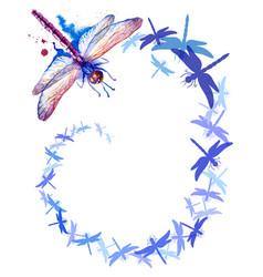 Flying purple watercolor dragonflies vertical vector