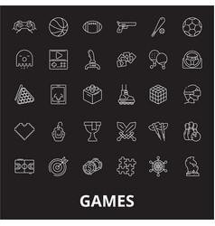 games editable line icons set on black vector image