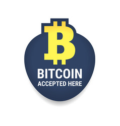 Golden bitcoin digital currency accepted here vector