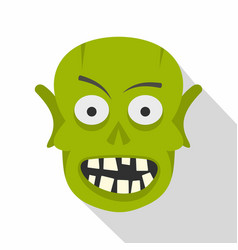 green zombie head icon flat style vector image