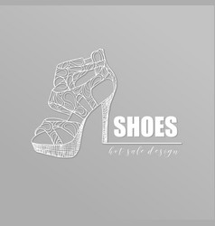 Grey banner with fashion woman footwear trendy vector