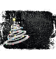 Grunge Christmas tree vector