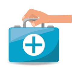 hand with suitcase first aid kit with medical vector image